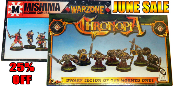 June Sale: Save 25% on all Mishima and Dwarves miniatures.
