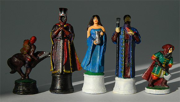 Tadhg O'Riordan painted 54mm Fantasy chess figures.