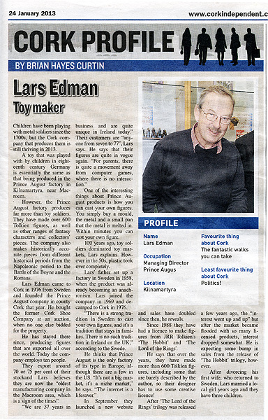Lars Edman Profile in corkindependant newspaper on 24-1-2013