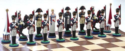 Napoleonic Battle of Waterloo chess set napoleon side