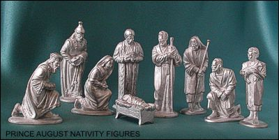 PRINCE AUGUST Nativity Moulds cast these nine figures, including baby Jesus, Mary, Joseph, 3 wise kings and 3 shepherds.