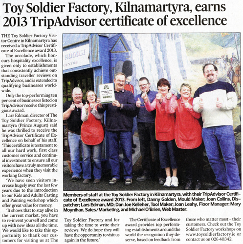 Southernstar article on Prince August Toy Soldier Factory Tripadvisor award 2013