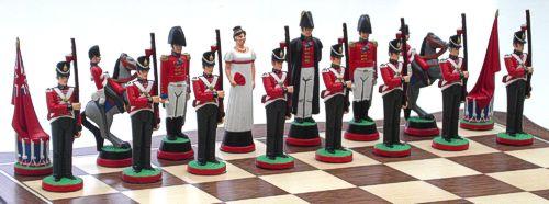 Napoleonic Battle of Waterloo chess set welligton side
